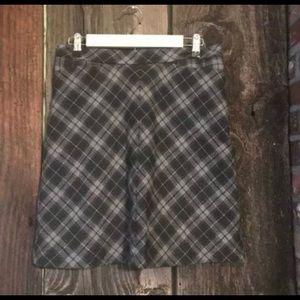 Gray Check Skirt Wool Blend Autumn Preppy Pockets